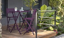 Bar de jardin pliant 2 chaises hautes en aluminium