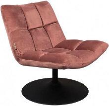 BAR - Fauteuil design pivotant en velours rose