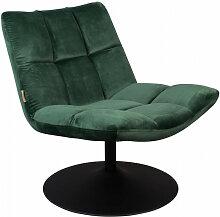 BAR - Fauteuil design pivotant en velours vert