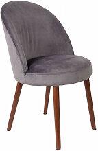 BARBARA - Chaise de salle a manger en velours gris