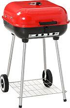 Barbecue à charbon avec couvercle et roulettes