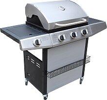 Barbecue à gaz et plancha 3 + 1 brûleurs avec