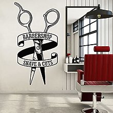 Barbershop Vinyl Wall Sticker Ciseaux Motif