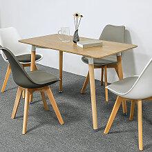 Bathrins - Ensemble à manger 1 table en bois et 4