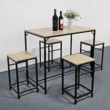 BATHRINS®Set Table à manger + 4 Chaises de Salle