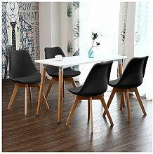BATHRINS® Set Table à manger Blanc+ 4 Chaises de