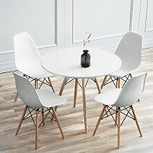 BATHRINS®Set Table à manger Blanc+ 4 Chaises