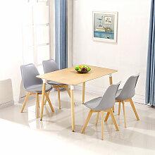 BATHRINS®Set Table à manger Chêne + 4 Chaises
