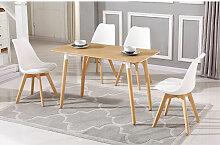 BATHRINS®Set Table à manger Chêne + Pack de 4