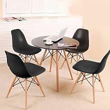 BATHRINS®Set Table à manger Noir+ 4 Chaises