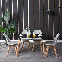 Bathrins - Table et 4pcs chaise gris clair à
