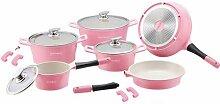 Batterie cuisine céramique 21 pièces rose