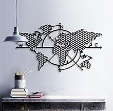 BAUPOR Carte du monde en métal Décoration murale