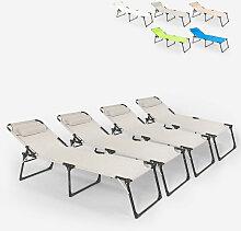 Beach And Garden Design - Lot de 4 chaises longues
