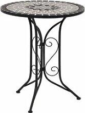Beau #435533 Table de bistro mosaïque Gris 61 cm