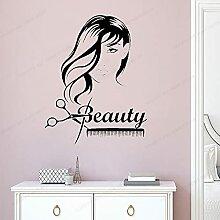 Beauté cheveux fille Portrait ciseaux peigne mur