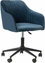 Beliani - Chaise à roulettes en tissu bleu VENICE