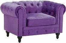 Beliani - Fauteuil en velours violet CHESTERFIELD