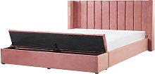 Beliani - Lit double en velours rose avec banc