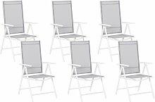 Beliani - Lot de 6 chaises de jardin en aluminium