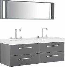 Beliani - Meuble vasque gris avec miroir MALAGA