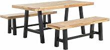 Beliani - Set de jardin table et bancs en bois