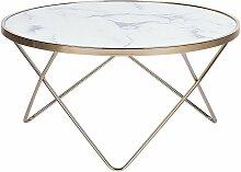 Beliani - Table basse effet marbre blanc et pieds