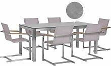 Beliani - Table de jardin effet béton 180 cm et 6