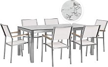 Beliani - Table de jardin plateau blanc effet