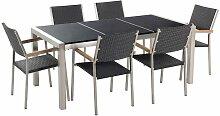 Beliani - Table de jardin plateau granit noir poli