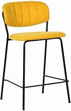 BELLAGIO -  Tabouret de comptoir tissu jaune