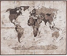 Belssia Tableau avec Motif Carte du Monde, Bois,
