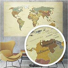 beneart® Grande carte du monde vintage – Carte