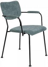BENSON - Chaise accoudoirs velours bleu gris