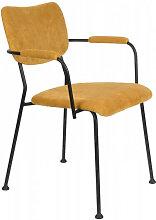 BENSON - Chaise accoudoirs velours jaune