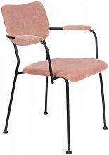 BENSON - Chaise accoudoirs velours rose