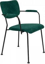 BENSON - Chaise accoudoirs velours vert