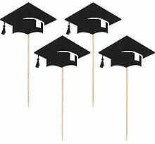 BESTonZON 24PCS Graduation Cap Cupcake Toppers