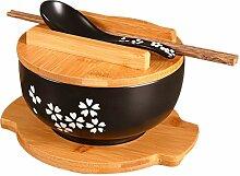 BESTonZON Bol japonais en céramique avec couvercle