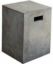 Beton - tabouret cube en béton gris