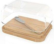 Beurrier verre bambou avec couteau Pebbly