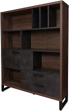Bibliothèque de style industriel avec tiroirs et