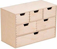 Bibliothèque en bois avec 6 tiroirs - Commode