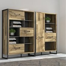Bibliothèque - hud - 2 portes - chêne / noir -