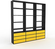 Bibliothèque murale - Jaune, design flexible,
