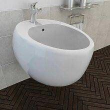 Bidet suspendu en céramique sanitaire blanc -