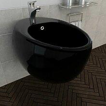 Bidet suspendu en céramique sanitaire noir - Rogal