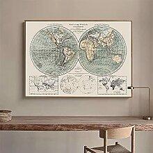 BIGSHOPART Carte du Monde rétro Mur Art Photo