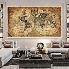 BIGSHOPART Carte du Monde rétro Vieille Photo