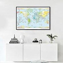 BIGSHOPART Fuseau horaire Carte du Monde en